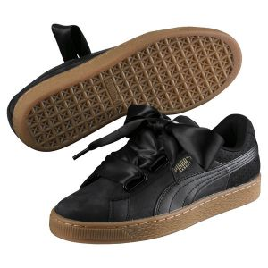 Image de Puma Basket Heart Perf Gum, Sneakers Basses Femme, Noir Black-Gold, 38.5 EU