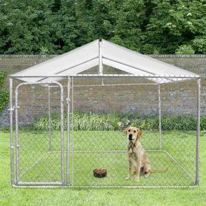 Idmarket Chenil grillagé 3x3 m avec toit pour chiens 9 m²