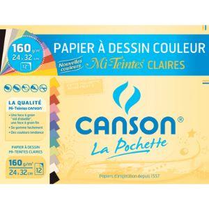 Canson Pochette 12 feuilles de papier dessin mi-teinte 160 g (24 x 32 cm)