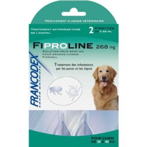 Francodex Fiproline 268 mg - Pipettes antiparasitaires pour Chien 20-40 kg