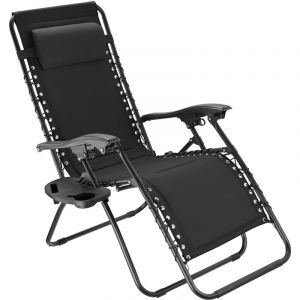 TecTake Chaise de jardin MATTEO - fauteuil de jardin, fauteuil exterieur, chaise exterieur - noir
