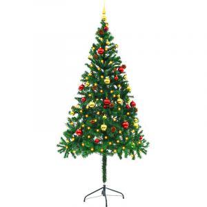VidaXL Arbre de Noël artificiel avec boules de Noël et LED 180 cm Vert