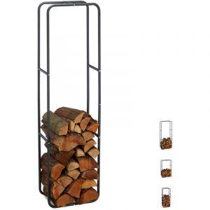 Relaxdays Etagère de Cheminée étagère à bûches Bois acier bois porte-bûches range buche 150 x 40 cm, anthracite
