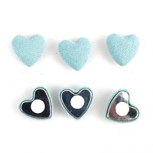6 stickers coeur en lin (2.5 cm)