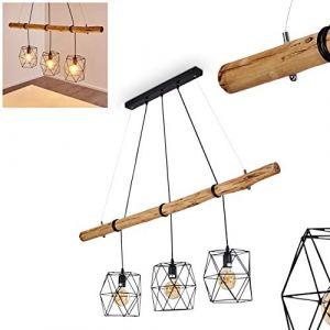 Hofstein Suspension Seegaard en métal noir et bois pour 3 ampoules E27 max. 60 Watts, compatible LED, luminaire suspendu au style à la fois moderne et rétro