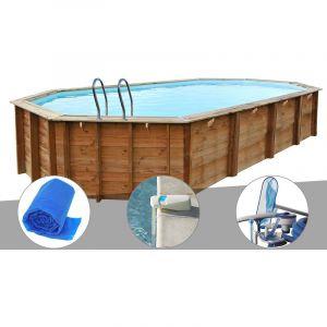 Sunbay Kit piscine bois Sevilla 8,72 x 4,72 x 1,46 m + Bâche à bulles + Alarme + Kit d'entretien