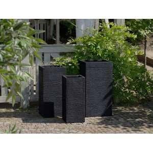 Beliani 3 cache-pots noirs rectangulaires Dion
