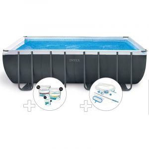 Intex Kit piscine tubulaire Ultra XTR Frame rectangulaire 5,49 x 2,74 x 1,32 m + Kit de traitement au chlore + Kit d'entretien