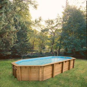 Ubbink Océa - Piscine ovale hors sol en bois 860 x 470 x 130 cm