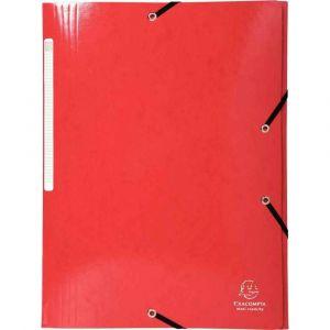 Exacompta 55825E - Chemise à élastique 3 rabats IDERAMA, pelliculée, grande capacité, coloris rouge