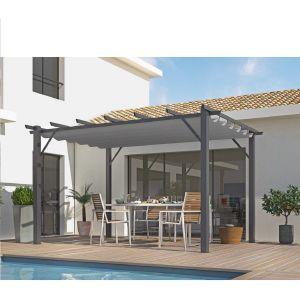 Foresta Habrita - Pergola en aluminium gris anthracite 100x100 mm ép.1,2 mm toiture gris 140 gr/m2 - PER4030GG