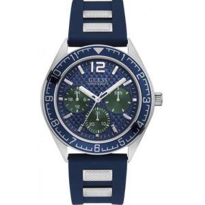 Guess : Montre W1167G1 - PACIFIC Boitier Acier Gris Bracelet Silicone Bleu Cadran Bleu Homme
