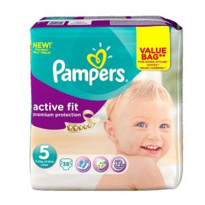 Pampers Active Fit taille 5 Junior (11-25 kg) - Value Bag x 38 couches