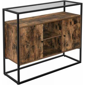 Songmics VASAGLE Meuble de rangement style industriel, 100 x 35 x 80 cm (L x l x H), cadre en acier, Marron rustique et Noir LSC014B01
