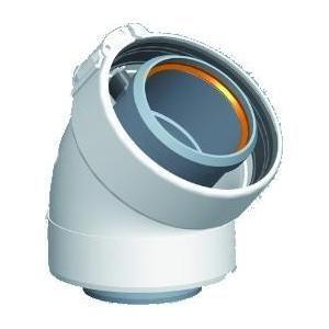 Ubbink 227201 - Coude à 45° en aluminium-PVC diamètre 60-100 système collier