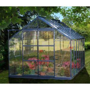 Palram Sekurit - Serre de jardin 8,88m² en aluminium et verre trempé + embase