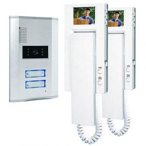 Visiophone câblé set complet Smartwares VD62 SW 2 foyers argent, blanc