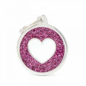 Myfamily Médaille shine grand cercle rose cœur blanc