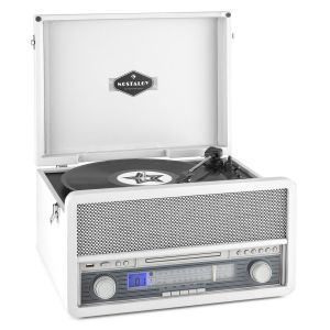 Auna Epoque 1907 - Tourne-disque rétro et lecteur de cassette Bluetooth