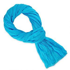 Allée du foulard Echarpe Chèche coton bleu turquoise uni bleu - Taille Unique