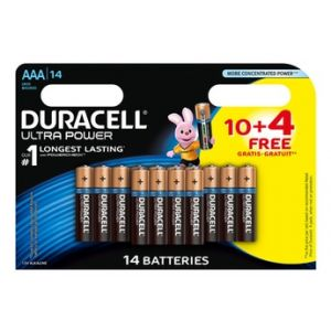 Duracell Pack de 10 + 4 Piles Ultra Power AAA (LR03)
