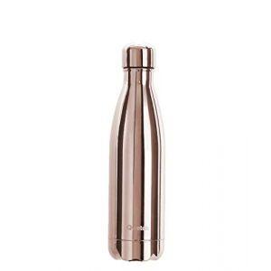 Qwetch Bouteille Isotherme INOX 500ml - Maintient Vos Boissons au Chaud Pendant 12 Heures & au Frais Pendant 24 Heures - BPA Free - Métal Rose Gold