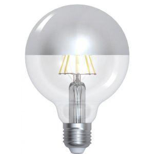 Girard sudron Globe led filament E27 8W (eq. 60 watt) 'Calotte argentée' - Dimmable - Couleur eclairage - Blanc chaud 2700°K