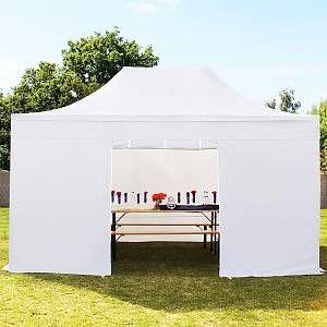 Intent24 Tente pliante 3x4,5 m sans fenêtre blanc PROFESSIONAL tente pliable ALU pavillon barnum.FR