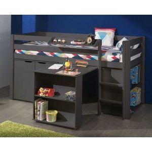 Vipack Furniture Lit Pino mezzanine, bureau, bibliothèque et commode 2 portes pour enfants
