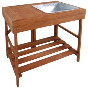 Esschert design Table à rempoter en bois feuillus