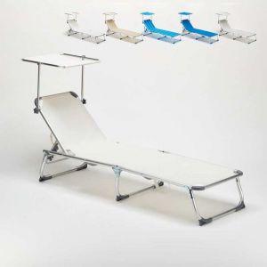 Beach and Garden Design Lit de plage pliant bain de soleil transat piscine portable pare-soleil CALIFORNIA | Blanc
