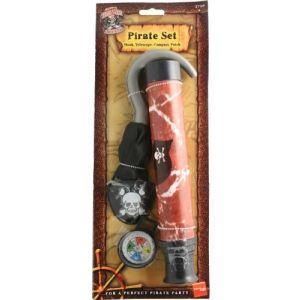 Ensemble pirate avec crochet, télescope, boussole et cache oeil