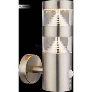 Globo Lighting Applique extérieure inox - Plastique translucide - IP44 - Capteur : 90°