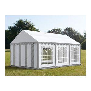 Intent24 Tente de réception 4 x 6 m PVC anti-feu gris-blanc