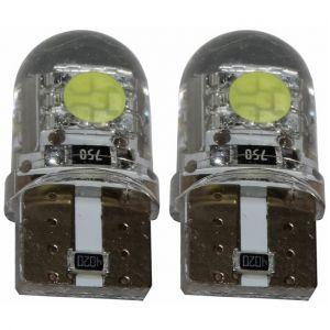 Aerzetix : 2x ampoule T10 W5W 12V 2LED SMD blanc effet xénon silicone veilleuses éclairage intérieur seuils de porte plafonnier pieds lecteur de carte coffre compartiment moteur plaque d'immatriculation minéralogique