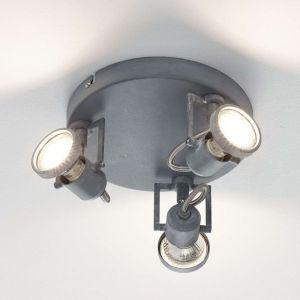 """Plafonnier Spot Industriel 3 Têtes LED """"Concreto"""" 19cm Béton"""