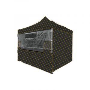 Greaden Écran transparent/Bâche séparative de protection en PVC pour Tente/Barnum pliante MEDIUM 32mm 3x4.5m Stand/Buvette/Réception/Marché, 100% imperméable & Résistante, Protection supplémentaire Noir