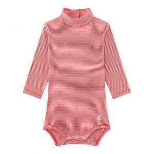Petit Bateau BODIES ML A COL Body Bébé fille Rose (Cheek/Marshmallow 07) 1 an (Taille fabricant: 12M 12MOIS)