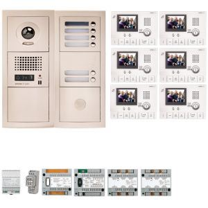Aiphone GTV6E - Pack vidéo 6 BP avec 6 moniteurs GT1CL préprogrammés (200315)