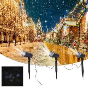 Homcom Projecteur LED éclairage de Noël intérieur extérieur 4 W lot de 3 motif flocons de neige surface projection ajustable 10-30 m² noir