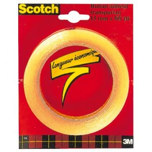 Scotch Ruban adhésif transparent - 15mm x 66m en sachet individuel