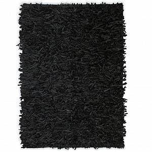 VidaXL Tapis shaggy Cuir véritable 160 x 230 cm Noir