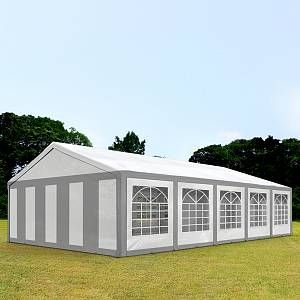 Intent24 TOOLPORT Tente de réception 5x10 m Toile de Haute qualité 240g/m² PE Gris-Blanc Construction en Acier galvanisé avec raccordement par vissage