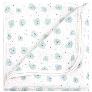 Emma & Noah Couverture pour bébés, extra douce et moelleuse, 100% biologique coton, 120x120 cm, à 4 couches, ideale comme couverture pour poussette, plaid, doudou, couverture de naissance