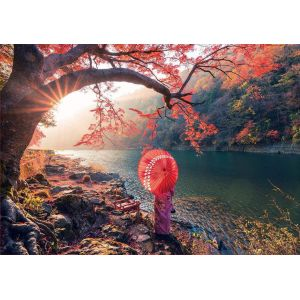 Educa Puzzle 1000 pièces : Lever du soleil sur le fleuve Katsura, Japon