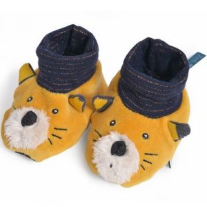 Moulin roty Chaussons chat moutarde Lulu Les Moustaches