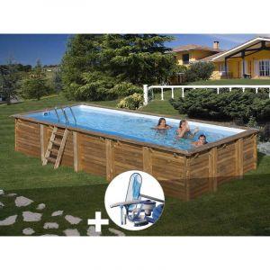 Sunbay Kit piscine bois Braga 8,00 x 4,00 x 1,46 m + Kit d'entretien