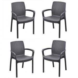 Lot de 4 fauteuil empilable REGINA en résine tréssée Gris anthracite