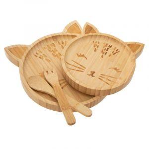 Atmosp ra Vaisselle Enfant Set de Repas 4 Pièces en Bambou motif CHAT