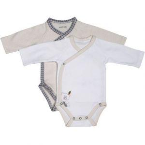 Sauthon Lot de 2 bodies blanc/beige 1 mois Timouki